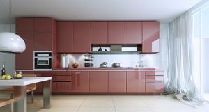 开放式厨房不锈钢橱柜装修设计效果图