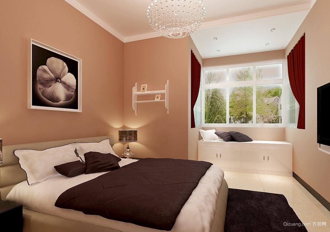 宜家浅色调卧室飘窗设计装修效果图