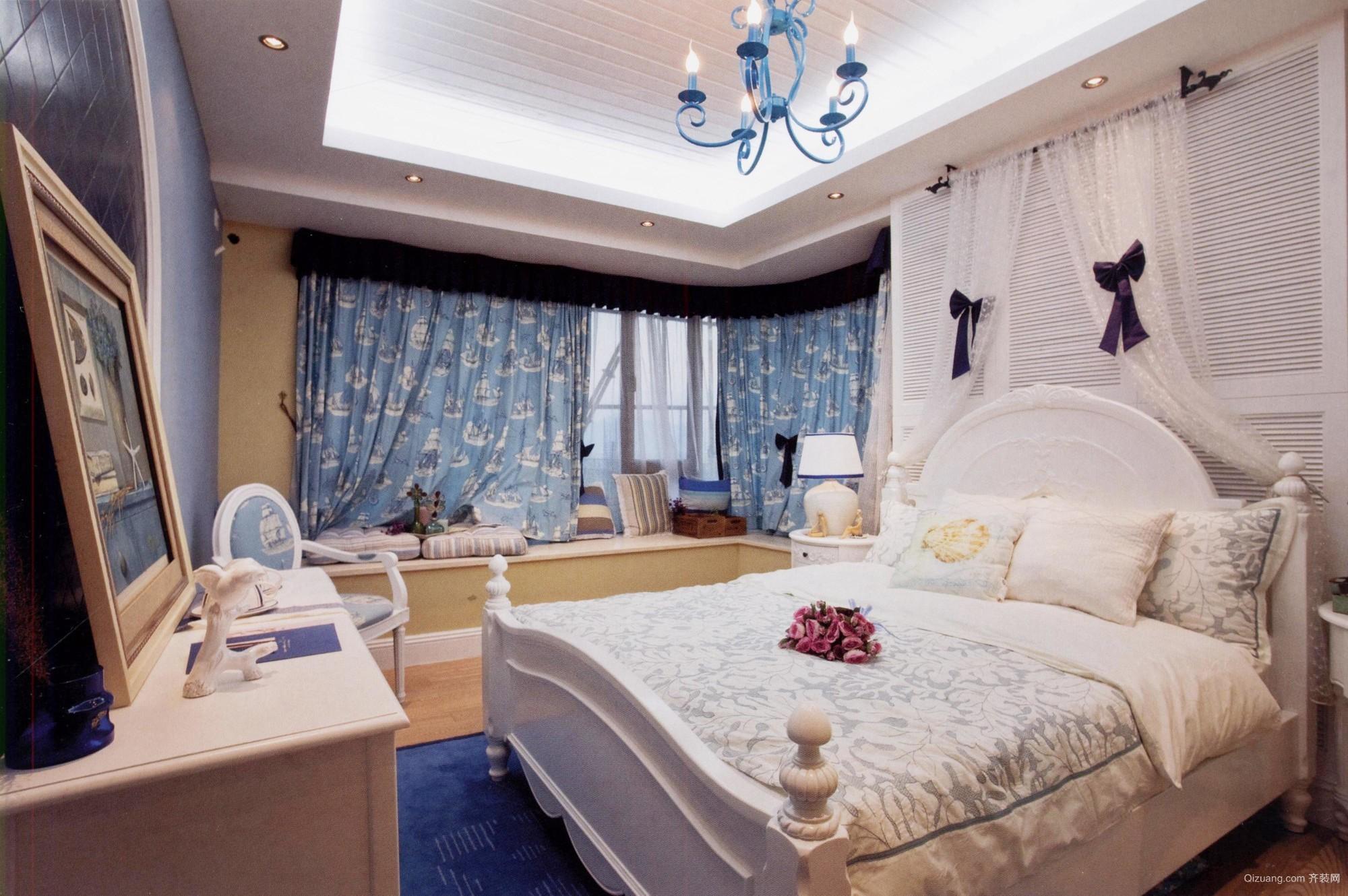 混搭风格大卧室转角飘窗设计装修效果图