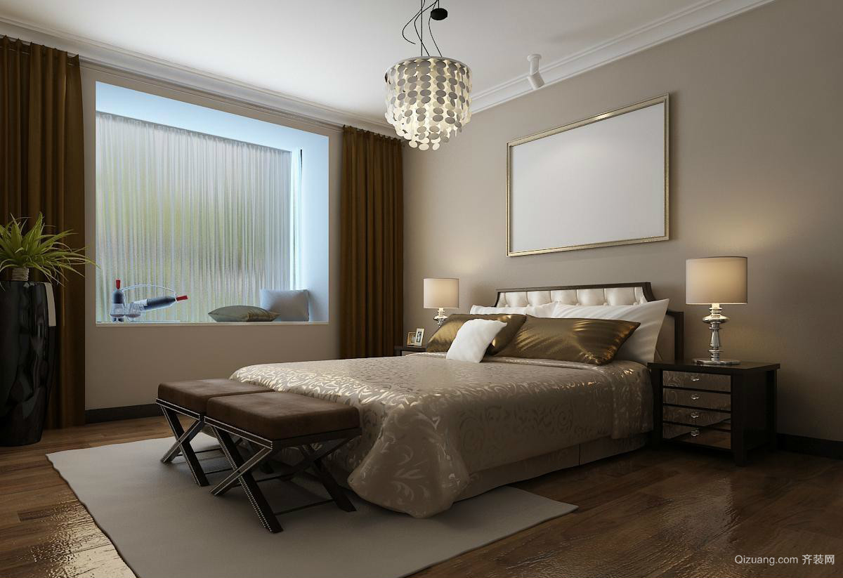 时尚韩式风小卧室飘窗设计装修效果图