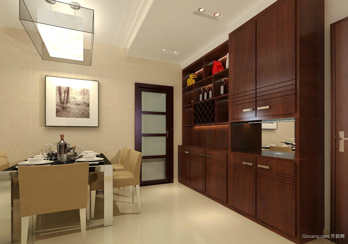 两居室深色系实木酒柜装修设计效果图