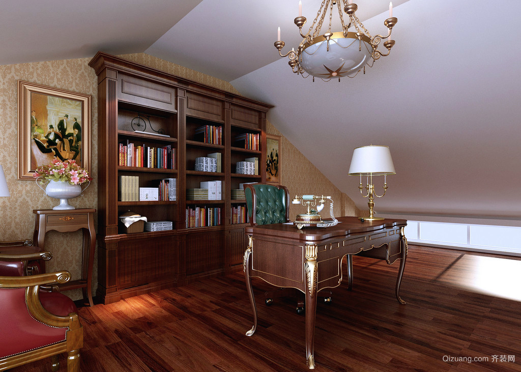 古典奢华的复式楼阁楼书房设计效果图