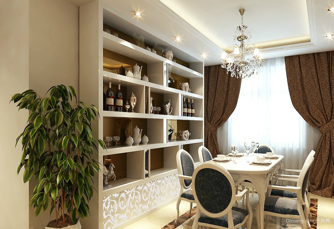 韩式风格大户型餐厅酒柜装修设计效果图