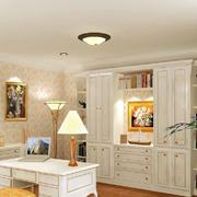 三居室米白色田园风格书房设计效果图