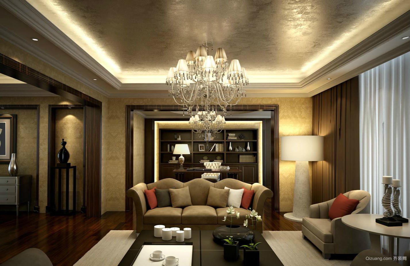 220平米家居古典开放式书房设计效果图