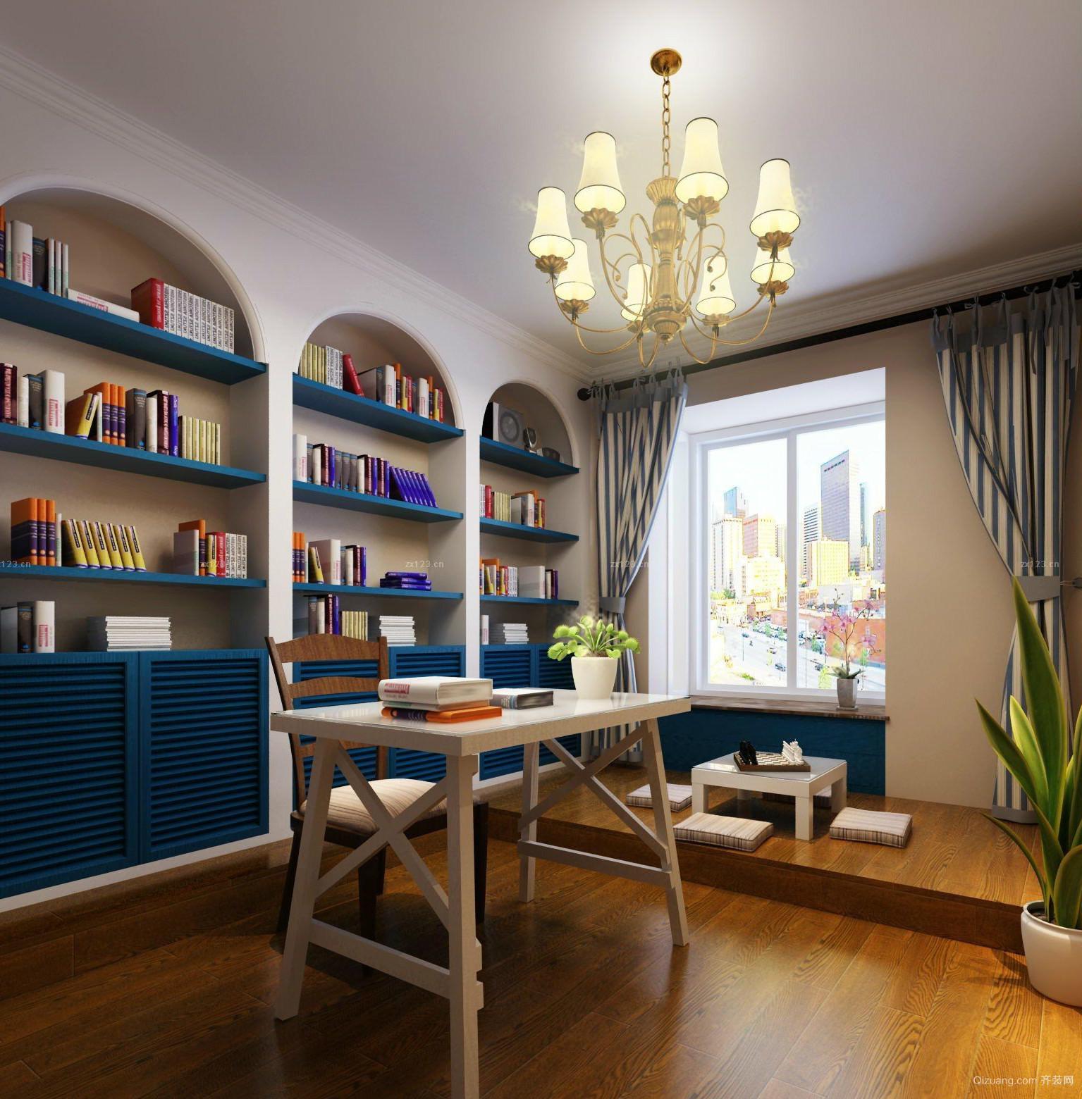 83平米家居地中海风格书房设计效果图