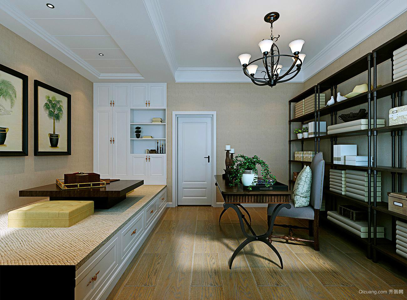 新中式风格116平米家居书房设计效果图