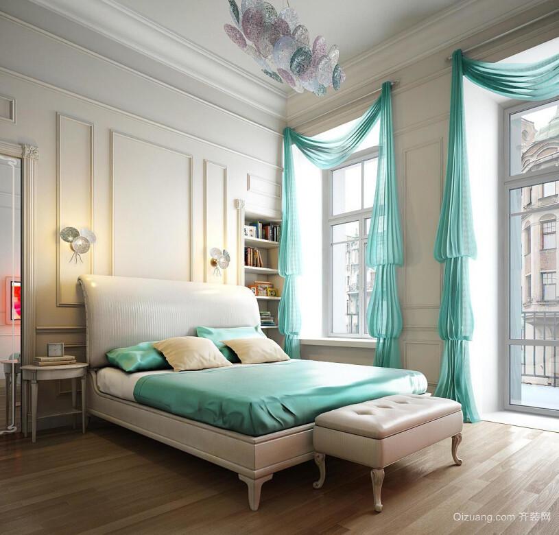 优雅法式风情卧室飘窗设计装修效果图