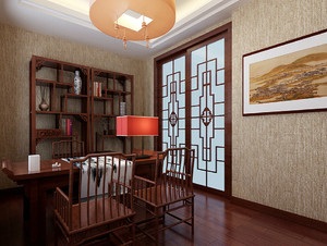 中国风:两室一厅家居书房设计效果图