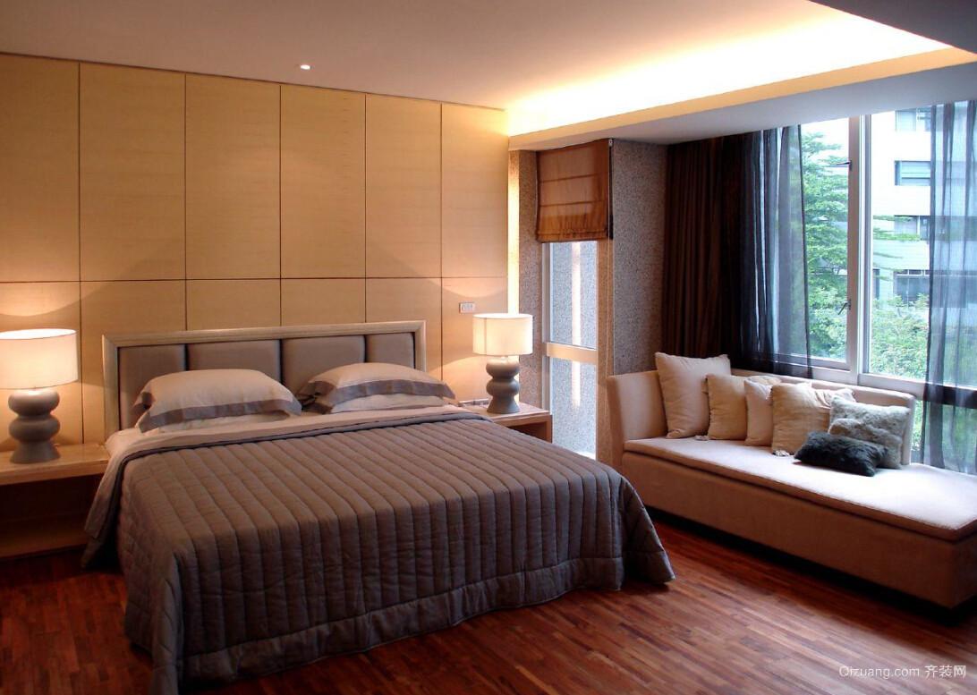 2016朴素大户型卧室飘窗设计装修效果图