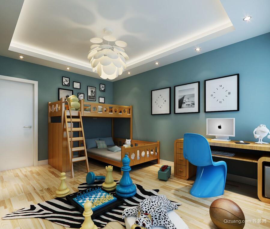 安全舒适的现代儿童房高低床装修效果图