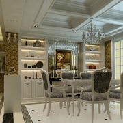 简欧大别墅餐厅酒柜装修设计效果图