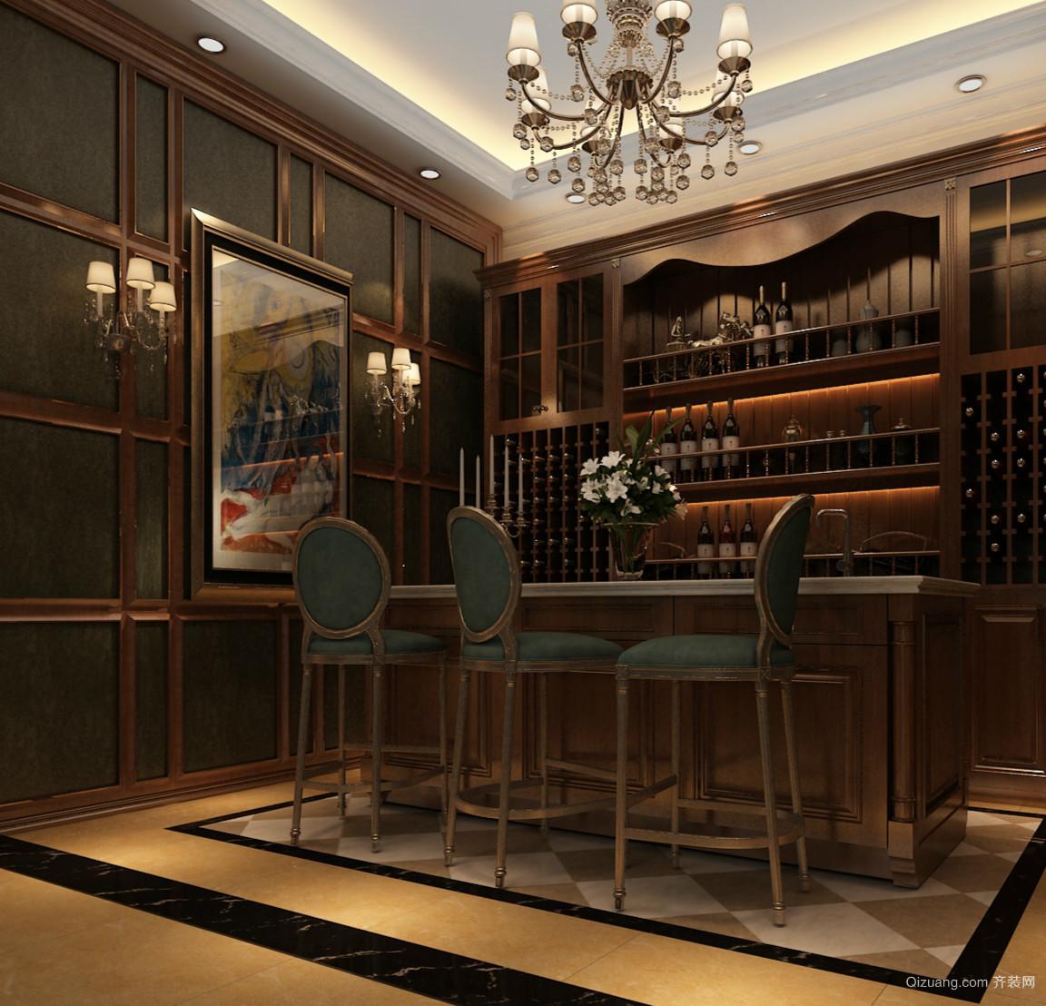 复式楼典雅美式风格酒柜装修设计效果图
