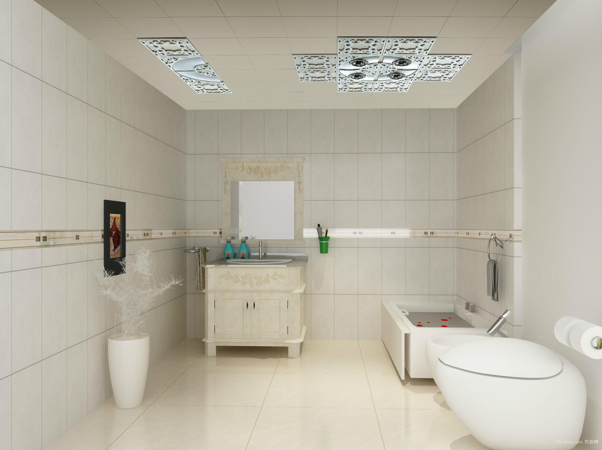 白色干净的13平米卫生间设计效果图