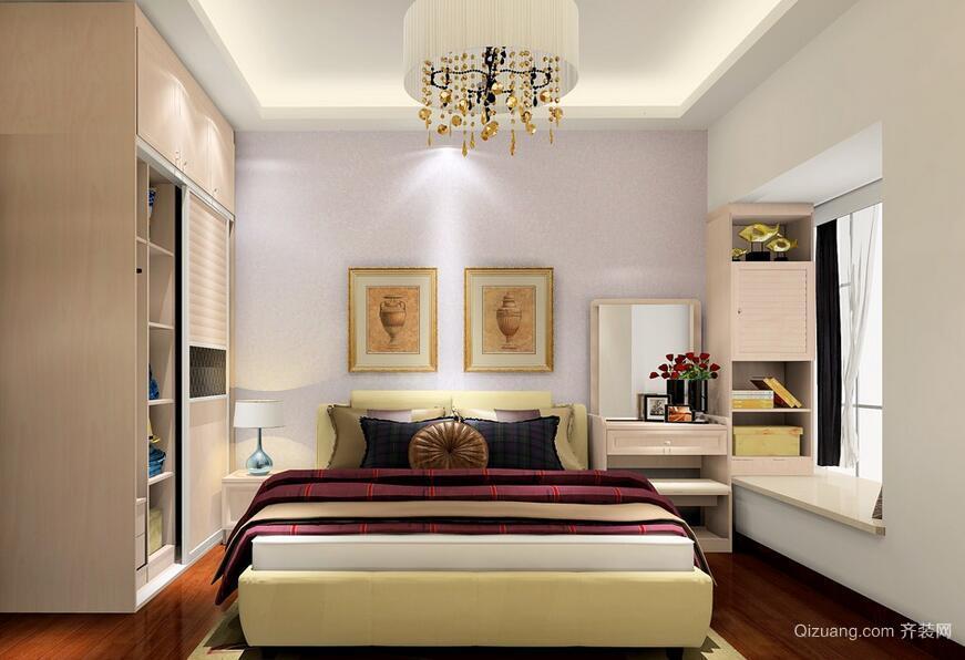 104㎡新房时尚卧室榻榻米床装修效果图