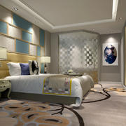 大型酒店清新卧室床头背景墙装修效果图