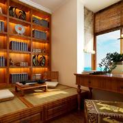 美式乡村风格小型书房榻榻米装修效果图
