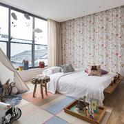 三居室田园风格卧室壁纸装修效果图