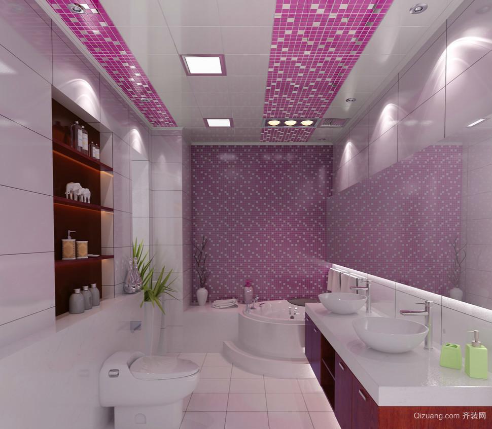 白紫色相间的现代小卫生间设计效果图