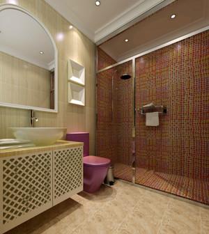 78平米韩式风格卫生间瓷砖设计效果图