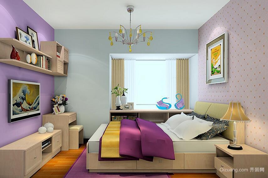 紫色浪漫的小卧室榻榻米床装修效果图
