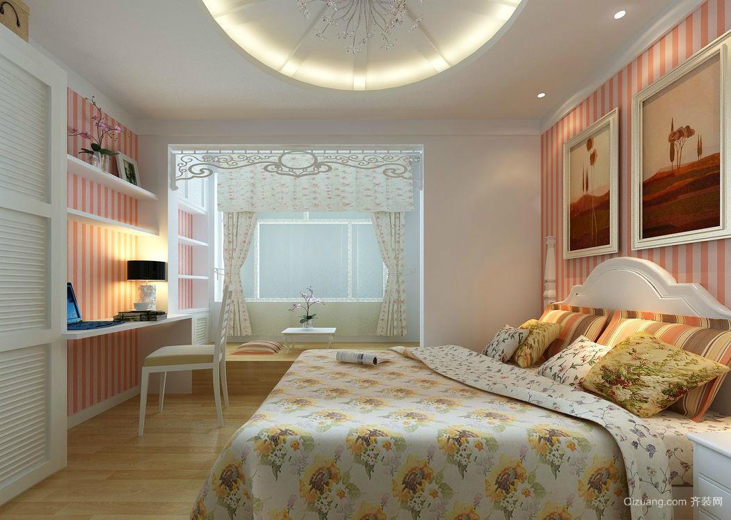 公寓田园风格卧室飘窗榻榻米装修效果图
