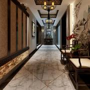中式风格400平米别墅玄关设计装修效果图