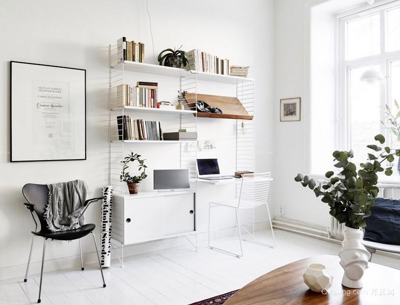 白色纯净的小公寓北欧风书房设计效果图