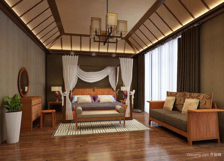 2016东南亚风格复式楼大卧室设计效果图