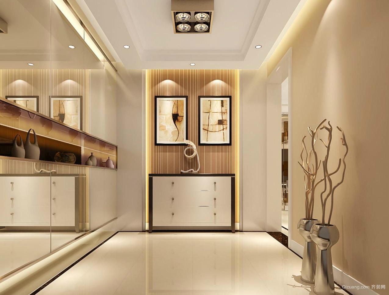 宜家米白色的三居室玄关设计装修效果图