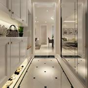 白色现代化三居室玄关设计装修效果图