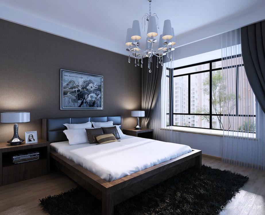 深色系时尚单身汉公寓卧室设计效果图