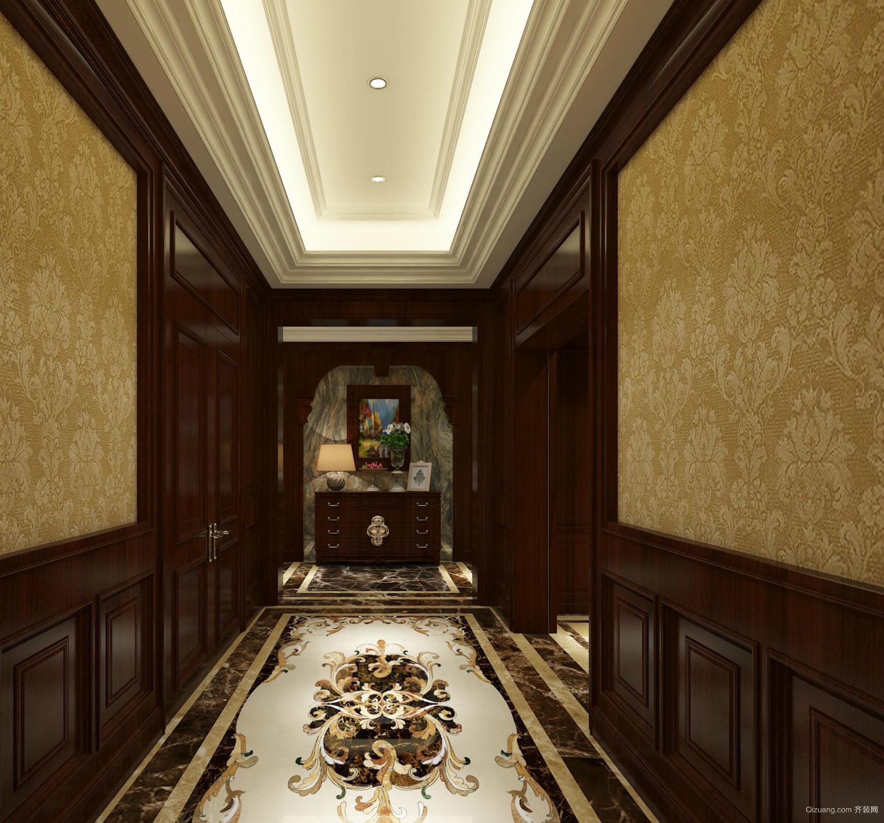 145平米家居美式玄关设计装修效果图