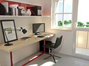55平米小公寓简约阳台书房装修实景图片