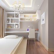 现代米白色书房榻榻米设计效果图