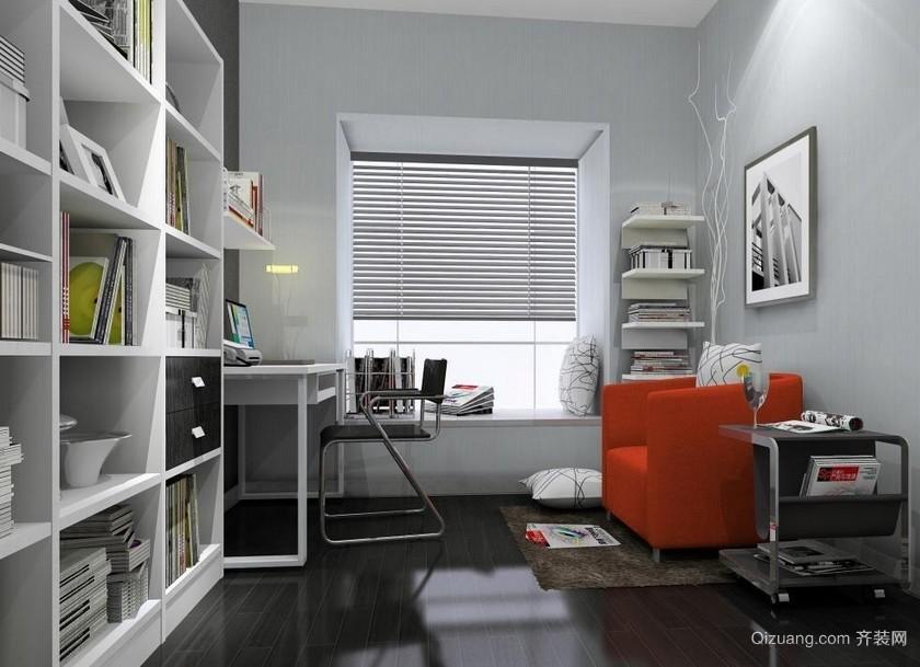 2016中性冷色调后现代风格书房设计效果图