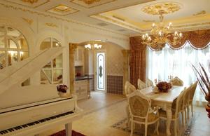 金色大殿:复式楼法式餐厅设计效果图