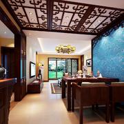 新意十足的128平米中式餐厅设计效果图