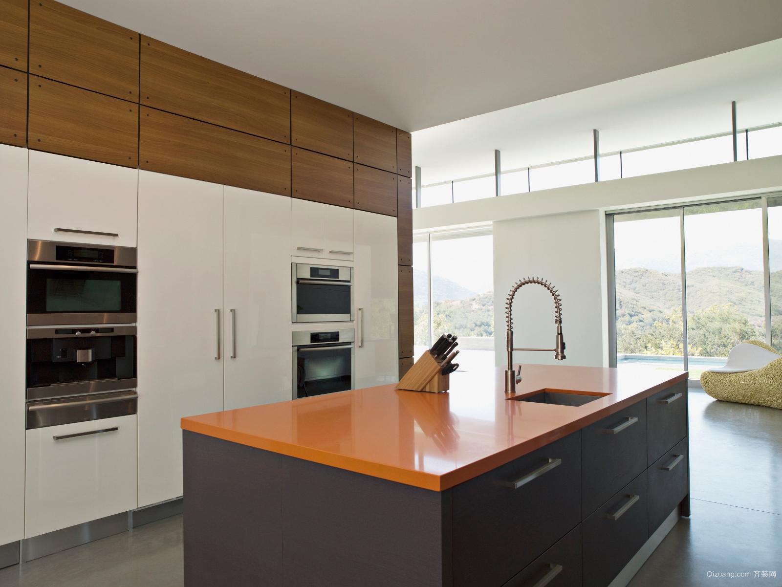 郊区大别墅现代开放式厨房装修设计效果图
