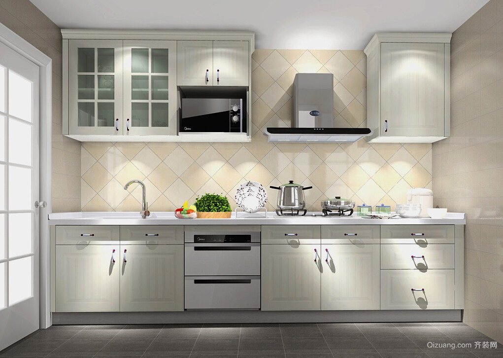 公寓一字型米白色厨房装修设计效果图