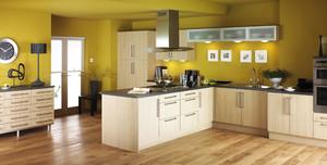 开放式厨房原木色橱柜装修设计效果图