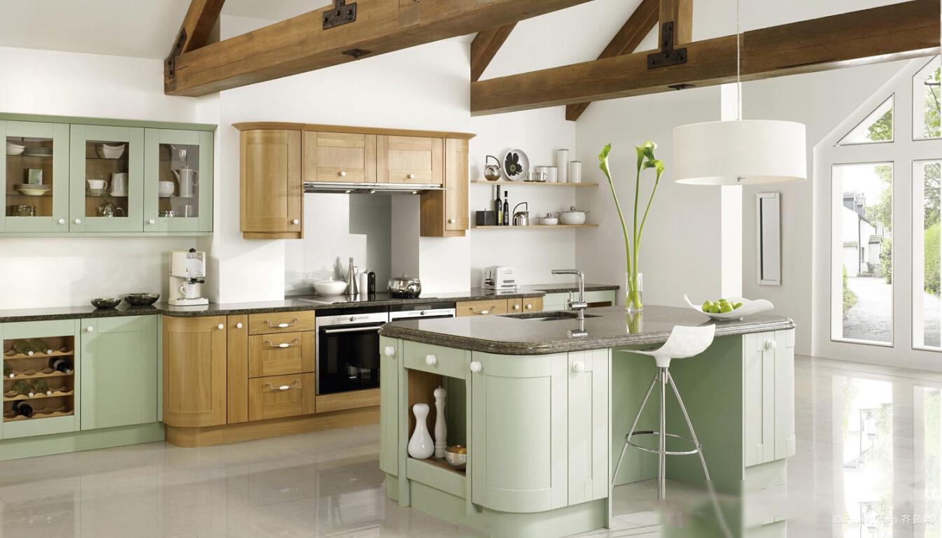 自然清新的独栋别墅厨房装修设计效果图