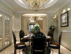 新古典格调的400平米别墅餐厅设计效果图