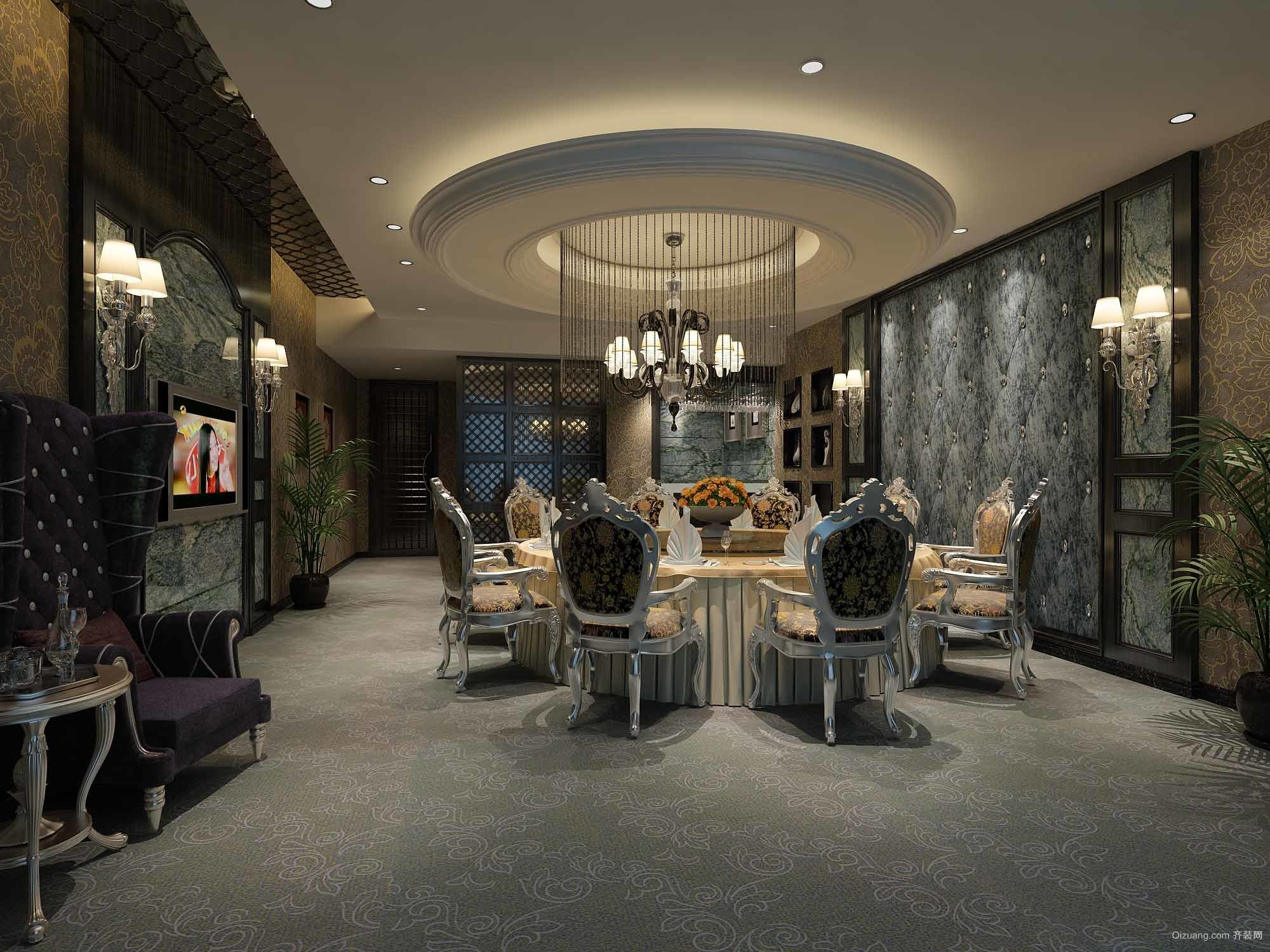 古典欧式风情超大型别墅餐厅设计效果图
