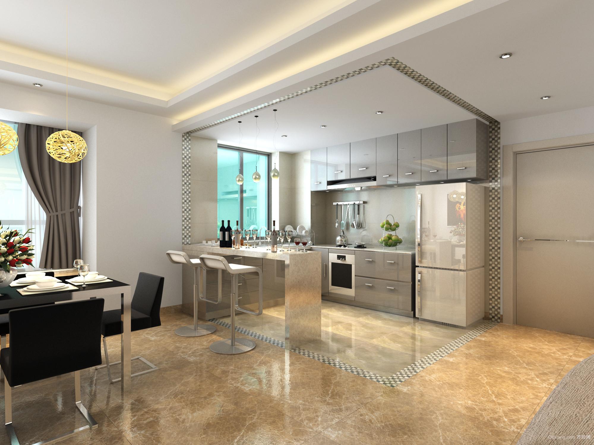 都市公寓开放式小厨房装修设计效果图