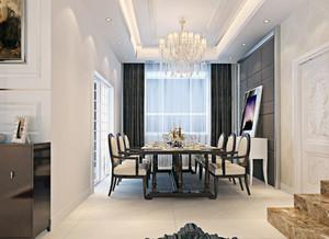 别墅型现代欧式餐厅背景墙装修效果图