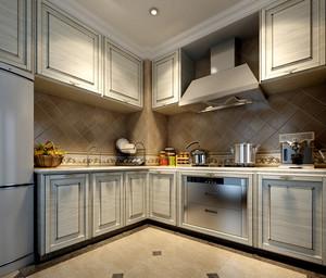 三室一厅精致米白色厨房装修设计效果图