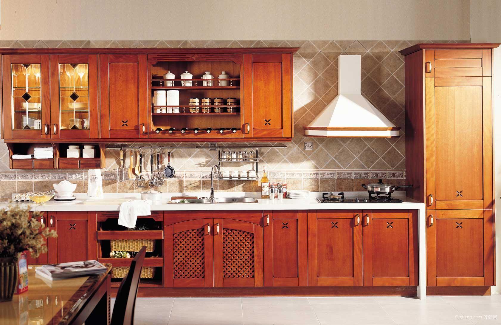 一字型乡村风格厨房装修设计效果图