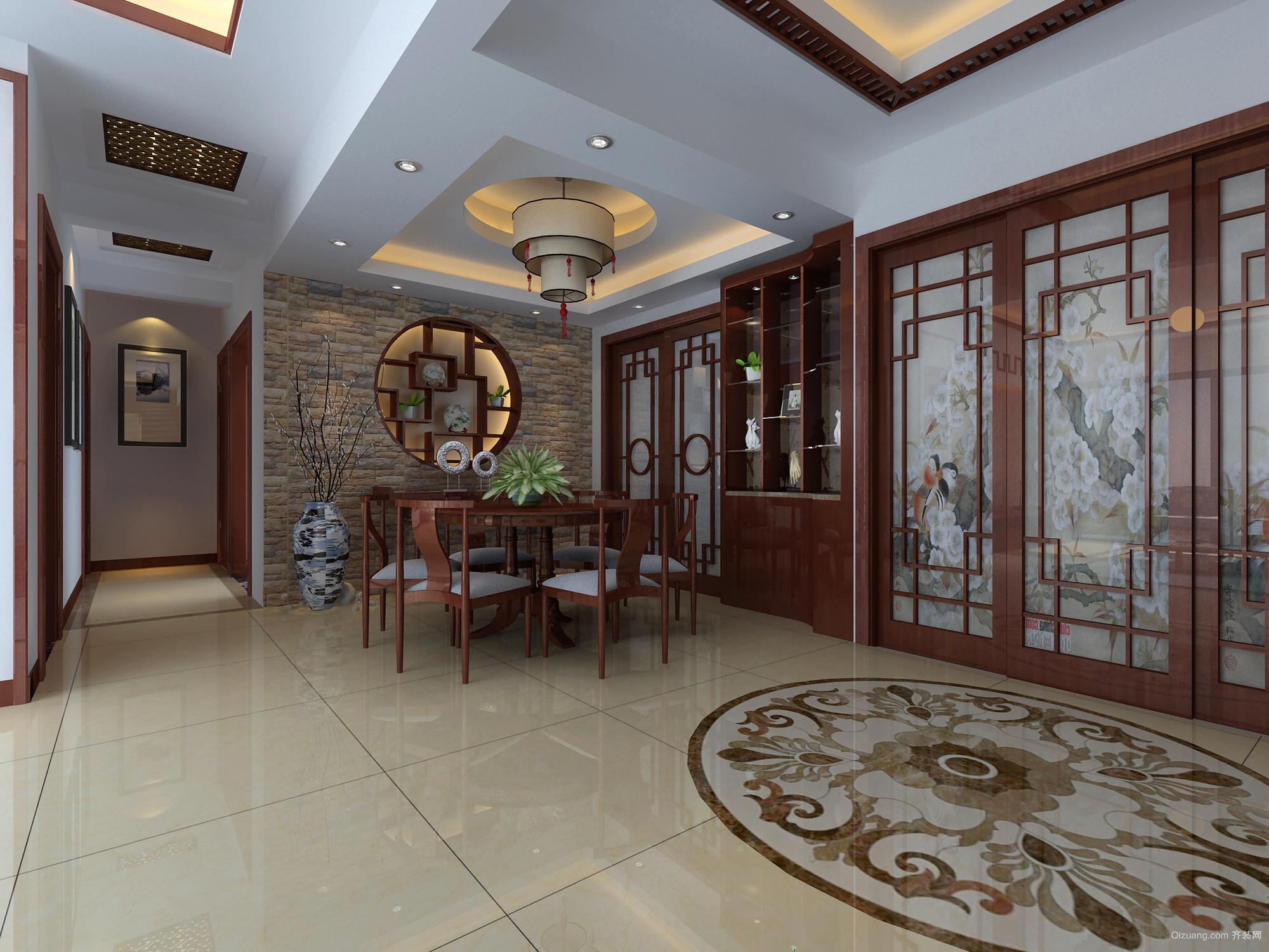 复式楼中式古典格调的餐厅设计效果图