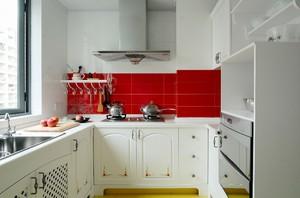 两室一厅小型白色厨房装修设计效果图